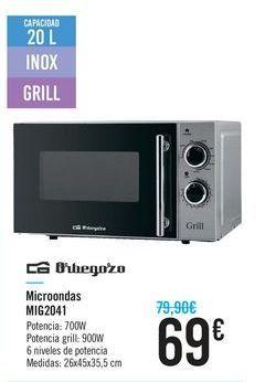 Oferta de Microondas Orbegozo MIG2041 por 69€