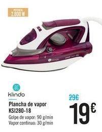 Oferta de Plancha de vapor KSI280-18 Klindo por 19€