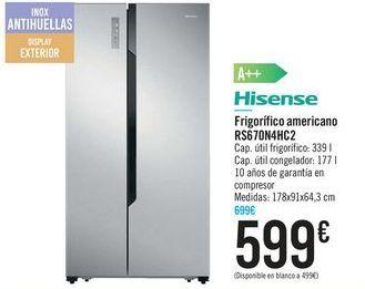 Oferta de Frigorífico americana RS670N4HC2 HISENSE por 599€