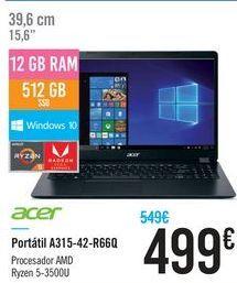 Oferta de Portátil A315-42-R66Q Acer por 499€