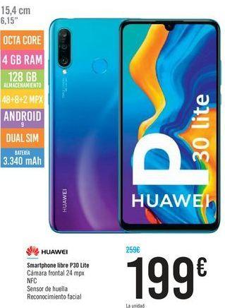 Oferta de Smartphone libre P30 Lite HUAWEI por 199€