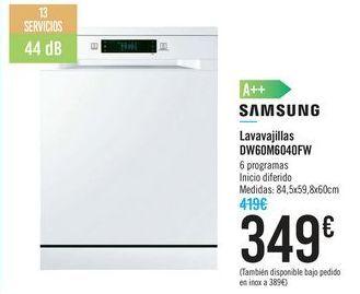 Oferta de Lavavajillas SAMSUNG DW60M6040FW por 349€