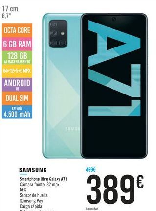 Oferta de Smartphone libre Galaxy A71 SAMSUNG por 389€