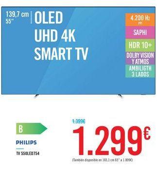 "Oferta de OLED UHD 4K SMART TV 55"" 55OLED754 PHILIPS por 1299€"