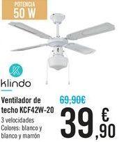 Oferta de Ventilador de techo KCF42W-20 Klindo por 39,9€