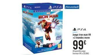 Oferta de Juego Iron man VR + 2 mandos move PS4 por 99€