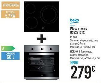 Oferta de Placa + Horno BSE22121X Beko  por 279€