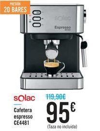 Oferta de Cafetera espresso CE4481 Solac por 95€