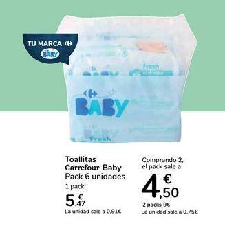 Oferta de Toallitas Carrefour Baby por 5,47€