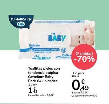 Oferta de Toallitas pieles con tendencia atópica Carrefour Baby por 1,63€