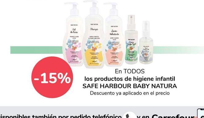 Oferta de En TODOS los productos de higiene infantil SAFE HARBOUR BABY NATURA  por