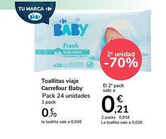 Oferta de Toallitas Carrefour Baby Sensitive por 0,7€