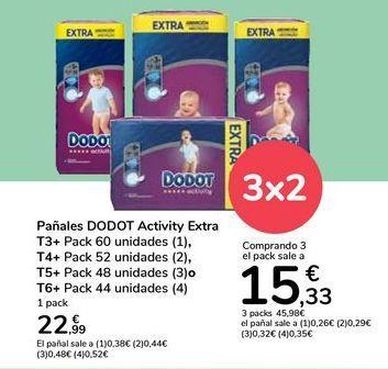 Oferta de Pañales DODOT Activity Extra  por 22,99€