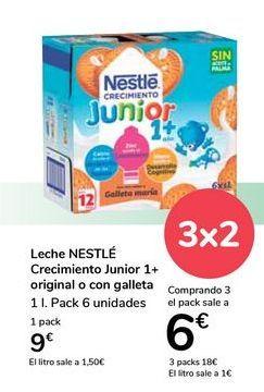 Oferta de Leche NESTLÉ Crecimiento Junior 1+ original o con galleta  por 9€