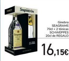 Oferta de Ginebra SEAGRAMS   70cl + 2 tónicas SCHWEPPES 20cl de REGALO por 16,15€