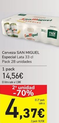 Oferta de Cerveza SAN MIGUEL  por 14,56€