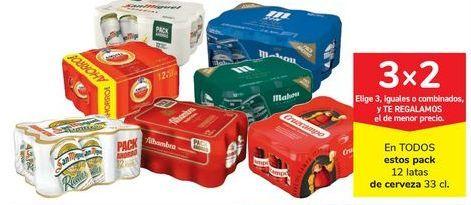 Oferta de En TODOS estos pack 12 latas de cerveza 33 cl. por