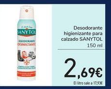 Oferta de Desodorante higienizante para calzado SANYTOL por 2,69€