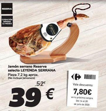 Oferta de Jamón serrano Reserva selecto LEYENDA SERRAN por 39€