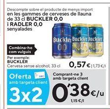 Oferta de Cerveza sin alcohol Buckler por 0,38€