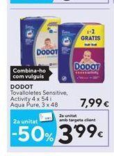 Oferta de Toallitas húmedas para bebé Dodot por 7,99€