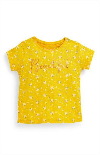 Oferta de Camiseta amarilla con texto «Beautiful» para niña pequeña por 2,5€