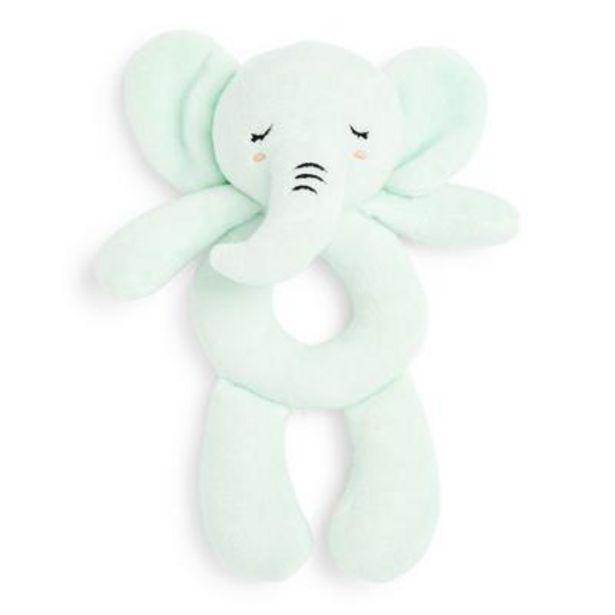 Oferta de Sonajero verde de felpa de elefante por 5€