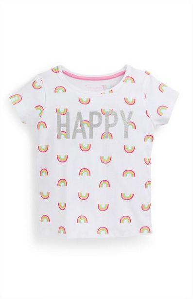 Oferta de Camiseta blanca con estampado de arcoíris para niña pequeña por 2,5€