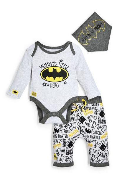 Oferta de Conjunto gris de leggings, bodi y babero de Batman para recién nacido por 10€