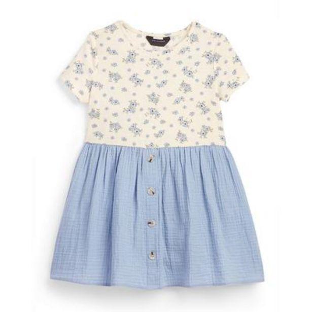 Oferta de Vestido camisero azul de punto para niña pequeña por 9€