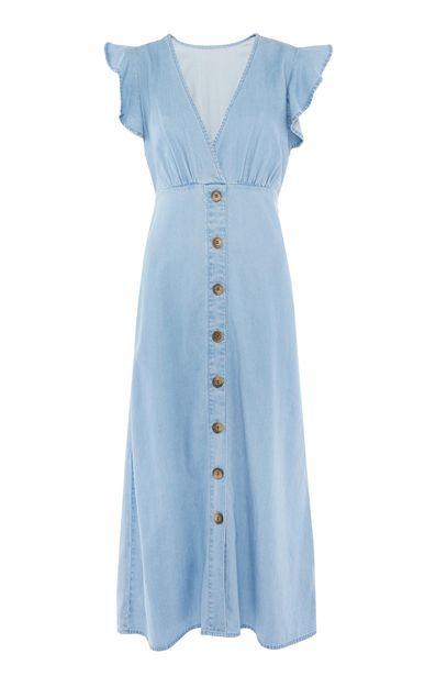 Oferta de Vestido azul de Tencel con volantes en las sisas por 19€
