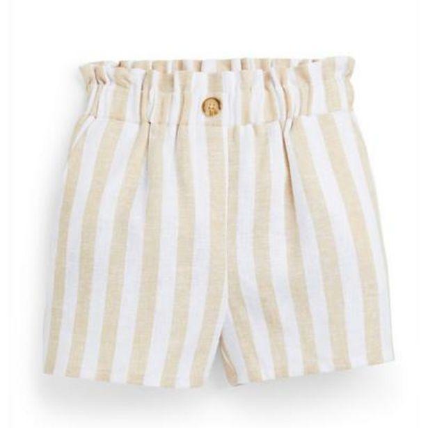 Oferta de Pantalón corto beige a rayas para niña pequeña por 9€