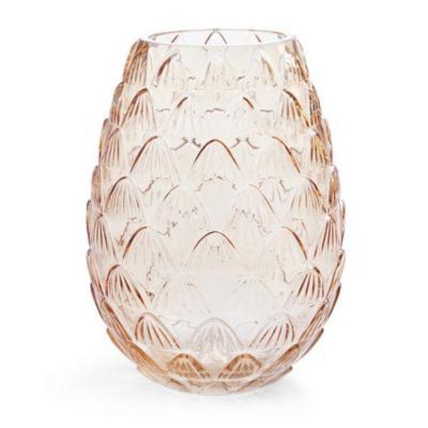 Oferta de Jarrón grande de vidrio ámbar con diseño festoneado por 9€