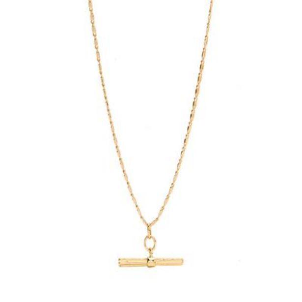 Oferta de Gargantilla bañada en oro con barra en «T» por 8€