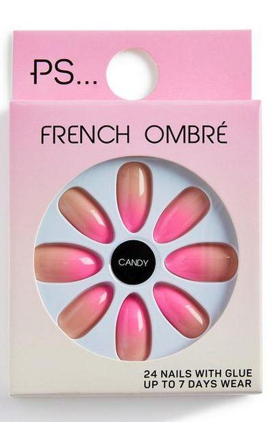 Oferta de Uñas postizas puntiagudas brillantes PS Candy French Ombre Pink por 2€