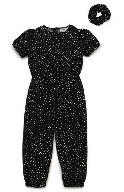 Oferta de Mono negro estampado con bajos ajustados y coletero para niña pequeña por 11€