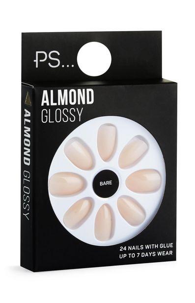 Oferta de Uñas adhesivas beige almendra brillante por 1,5€