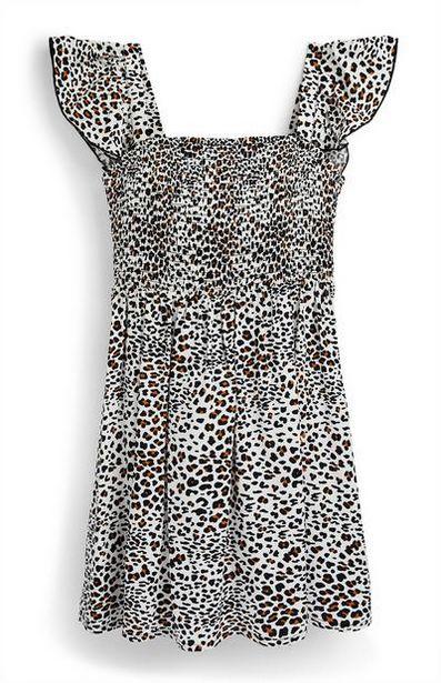 Oferta de Vestido de tejido fruncido con estampado de leopardo para niña mayor por 9€