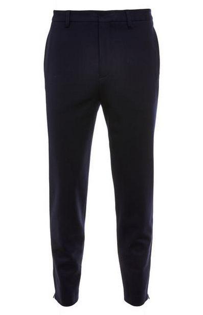 Oferta de Pantalón premium azul marino con detalle de cremallera por 22€