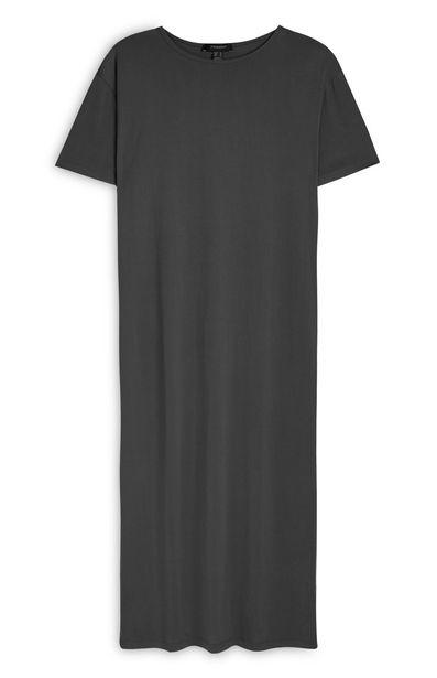 Oferta de Vestido largo estilo camiseta de punto gris marengo por 14€
