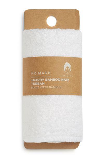 Oferta de Turbante para el pelo de bambú de lujo blanco por 4€
