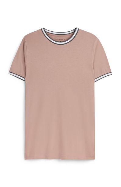 Oferta de Camiseta marrón claro con ribetes en contraste en cuello y mangas Kem Cetinay por 8€