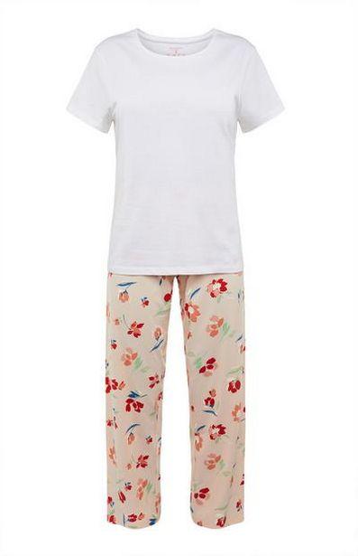 Oferta de Pijama blanco con estampado de flores por 7€