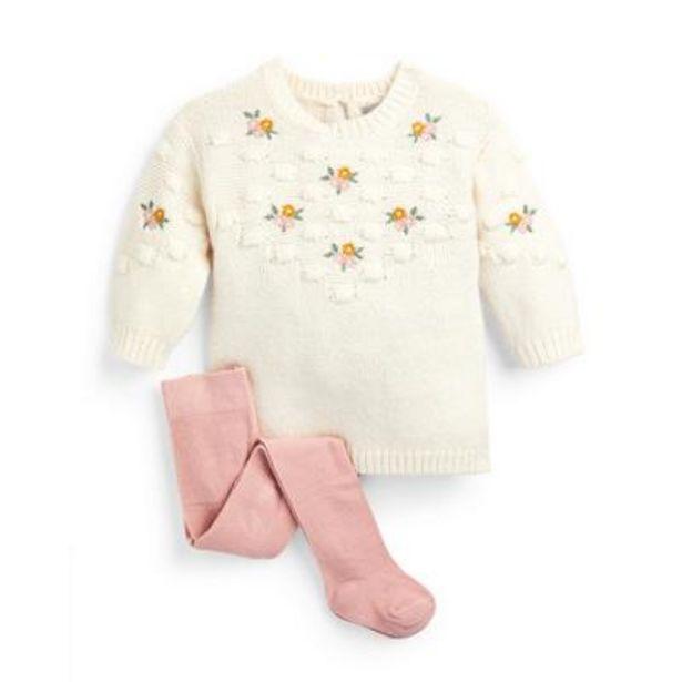 Oferta de Conjunto de vestido de punto bordado de color marfil y leotardos para bebé niña por 12€
