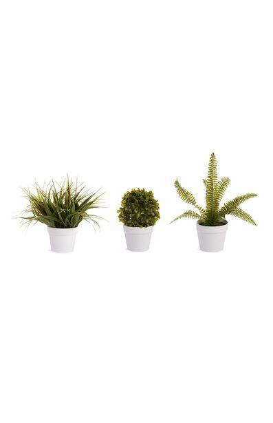 Oferta de Plantas artificiales con macetero blanco por 3€