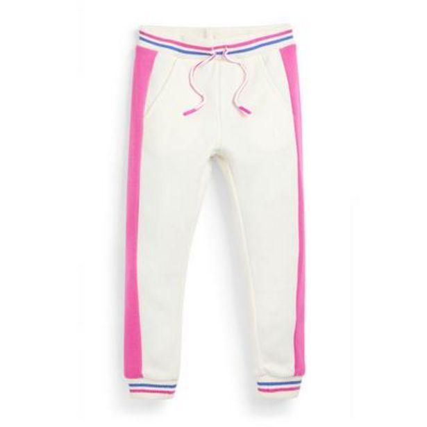 Oferta de Pantalón de chándal blanco con rayas laterales para niña pequeña por 8€
