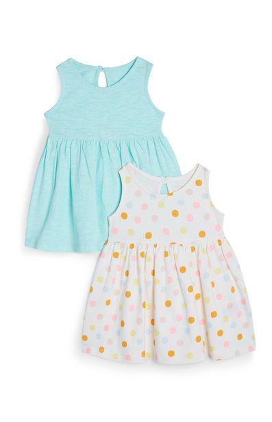 Oferta de Pack de 2 vestidos de punto azul y blanco con lunares para bebé niña por 6€