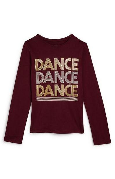 Oferta de Camiseta burdeos de manga larga con texto «Dance» para niña mayor por 3€