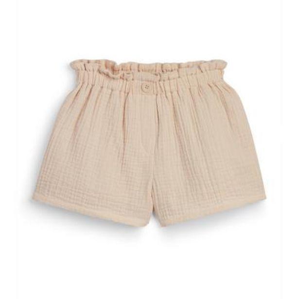 Oferta de Pantalón corto beige de algodón fruncido para niña pequeña por 8€