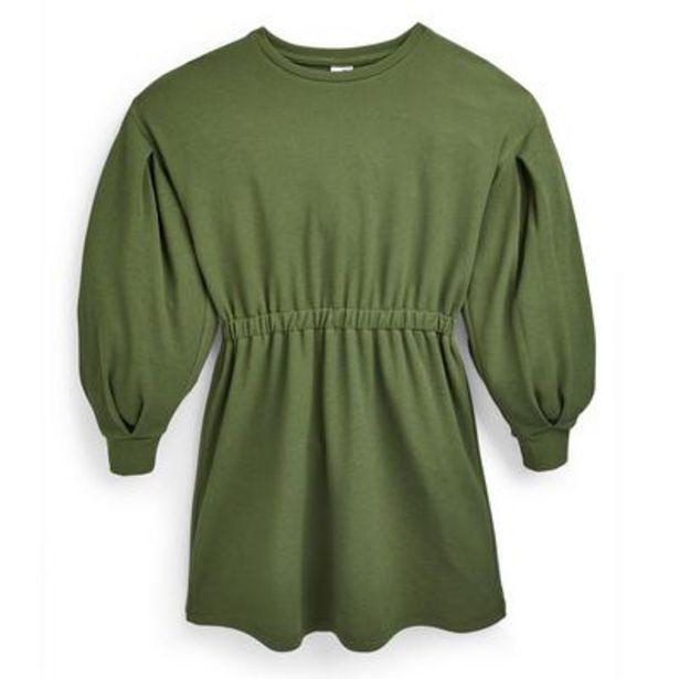 Oferta de Vestido verde con cintura de punto roma para niña mayor por 12€